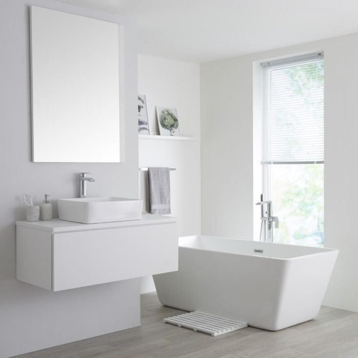 Create A Fresh Modern Look And Smarten Up Your Bathroom With The Milano Oxley 1000mm Matt White Vanity Unit Wall Hung Vanity Wall Hung Vanity Unit Vanity Units Bathroom modern vanity units milano