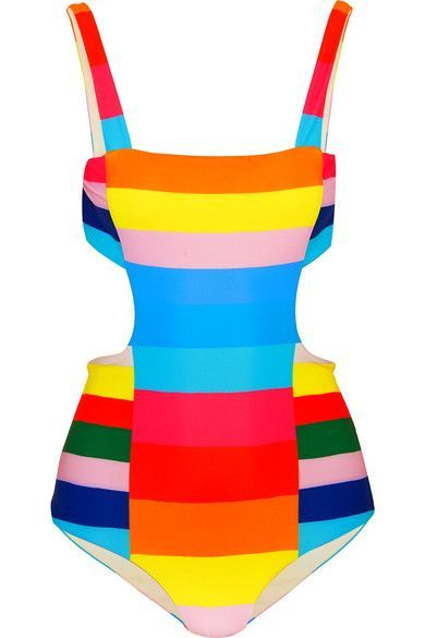 Multicolored stretch-polyamide Ties at back 78% polyamide, 22% elastane Hand wash Lotion, sunscreen, oil and chlorine can cause discoloration of this item; this is not a manufacturing defect. Please follow care instructions to keep your swimwear in the best condition  Imported