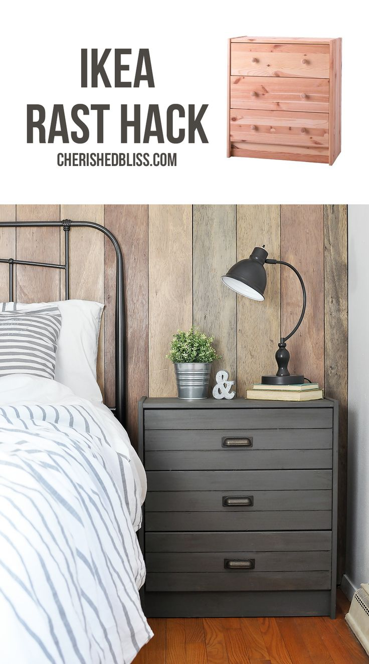 Ikea Rast Hack | Turn a simple dresser into this Printer's Cabinet inspired Rustic Industrial Nightstand