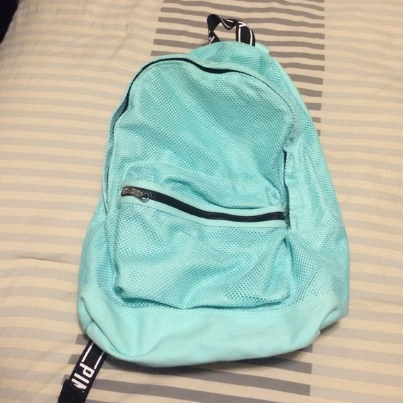 NWOT VS pink aqua backpack Brand new never been used Aqua mesh vs pink bookbag. Has a tiny barely noticeable smudge as seen on 2nd to last pic  PINK Victoria's Secret Bags Backpacks