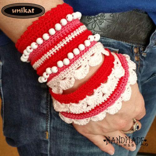 Armband-Damenschmuck-Trachtenschmuck-Oktoberfest-Dirndl-Unikat-gehaekelt-Perlen