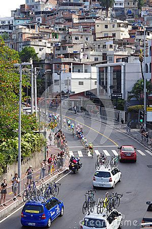 Men`s cycling road race on of Rio2016 Olympics in the neighborhood of favela Vidigal in Rio de Janeiro. Photo taken on Aug 6th, 2016