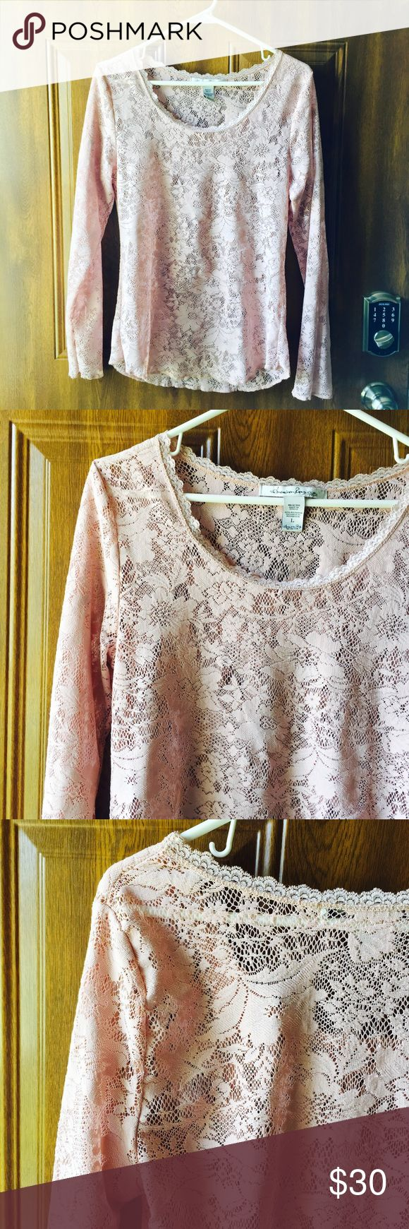 American Rag Lace Too This blouse is long sleeved and a gorgeous dusty rose/pink tone, best captured in last photo. It is lace throughout and would be great with a cream cami underneath and some skinny jeans! Worn only a couple of times. Price is negotiable 🙂 American Rag Tops Blouses