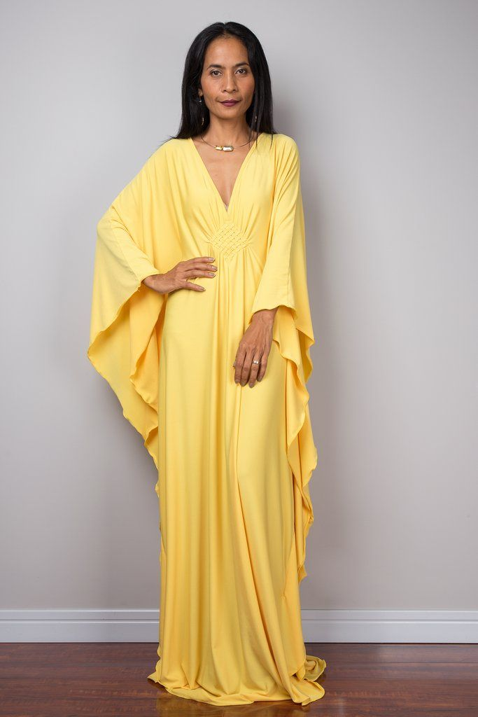 37865d2d08a5 Yellow Kaftan, Yellow Maxi Dress, Loose fitting dress | Nuichan ...