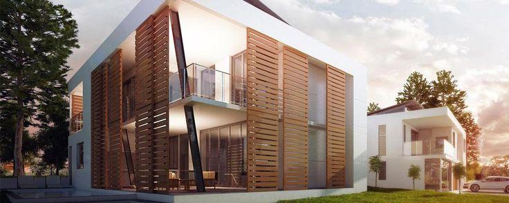 Sliding louver screens and sleek lines make this home a modern contemporary home a masterpiece