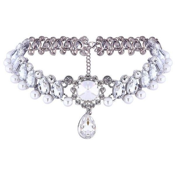 Retro Rhinestone Pearl Blend Choker Necklace (€11) ❤ liked on Polyvore featuring jewelry, necklaces, choker, accessories, jew, retro necklace, pearl rhinestone necklace, pearl jewellery, white pearl necklace and pearl choker