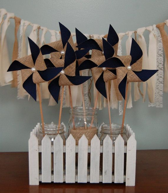 Navy Blue Rustic Burlap Pinwheel Wedding Decoration by SewSoapy, $12.00