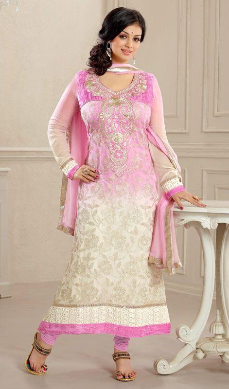 Bollywood Actress Ayesha Takia Embroidered Long Churidar Suit