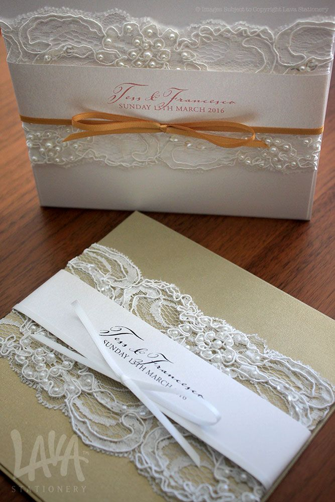 Beaded lace invitations by www.lavastationery.com.au