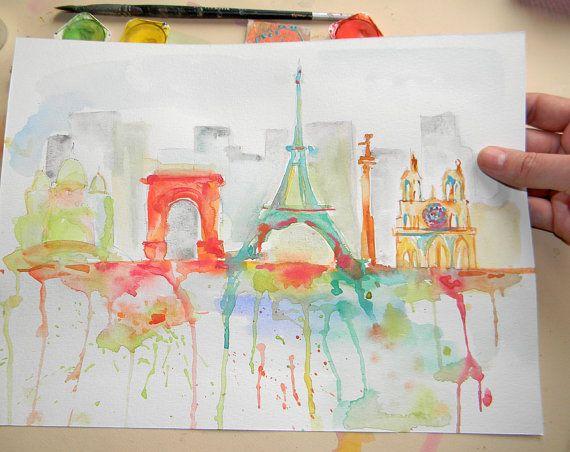 Original Paris skyline watercolor Notre Dame art by AquarelleDream