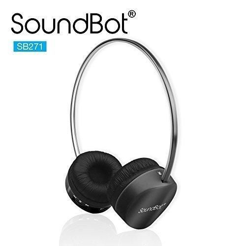 SoundBot SB271 Stereo Bluetooth 4.1 (Latest Version) Wireless Headphone for Music Streaming & Hands-Free Calling w/ 12Hrs Talk Time 250Hrs Standby Time Built-in Mic Noise Reduction Ear-cup (BLACK)