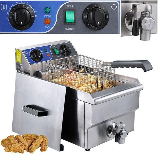 10L/ 20L Stainless Steel Electric Deep Fryer w/ Drain Commercial