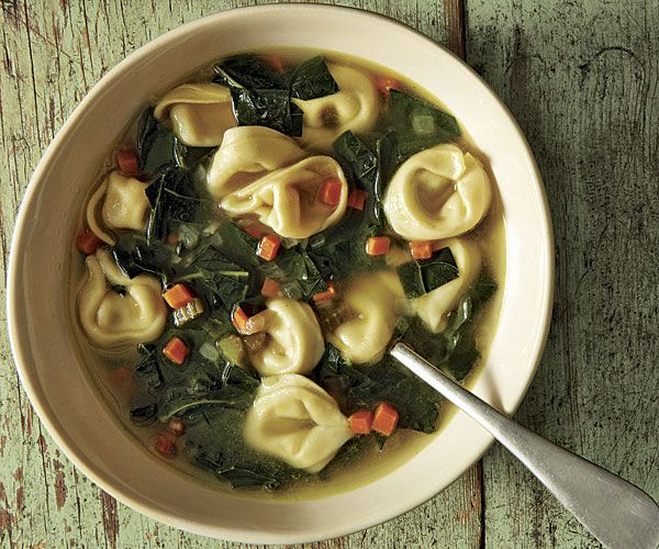Broccoli Leaf Tortellini Soup - My dad gave me some awesome broccoli leaves over the holidays. I like them in smoothies, but I hear it goes great in soups and purees.