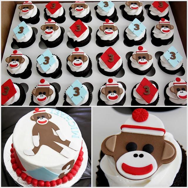 Sock Monkey Cupcakes & Smash Cake