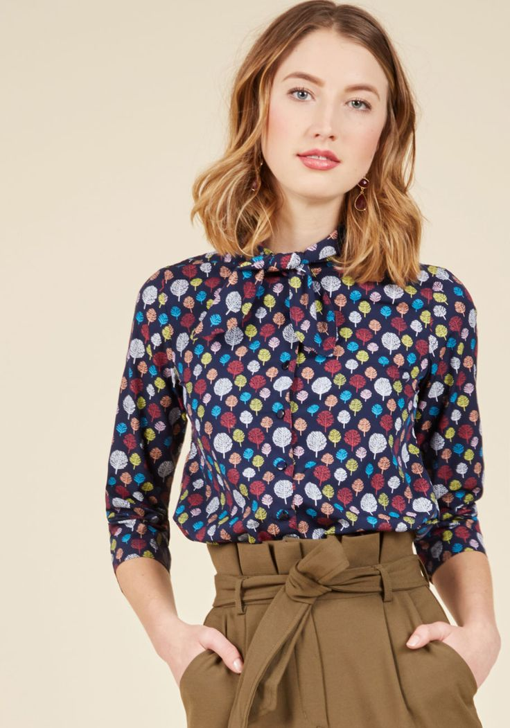 Gotta Take Office Top in Trees. Your farewells become twice as fond by being seen departing for the day in this navy blue top! #blue #modcloth