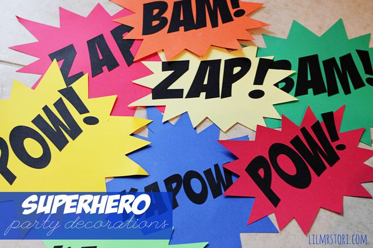 I made some old school comic book action signs for B's superhero birthday party. These were my favorite decorations of the party! (and they were the easiest to make!) I used them all over! I punched a small hole at the top and added ribbon. I then hung them to the ceiling. I also …