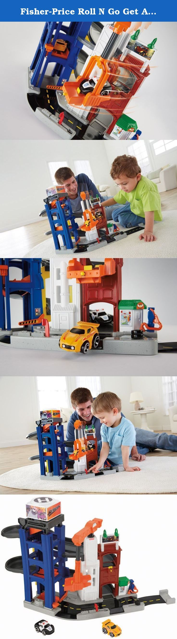 "Fisher-Price Roll N Go Get Away Garage. The Get Away Garage is a tower ""garage"" and ramp that comes with two freewheeling vehicles for awesome ramp play and tons of imaginative play scenarios! Play out a police chase by placing the Police Car in the ""hideaway"" spot at the top of the garage tower. When the Sports Car enters the tower from the elevator it automatically releases the hidden ramp sending the Police Car in hot pursuit! When reaching the end of the ramp an automatic crane car..."