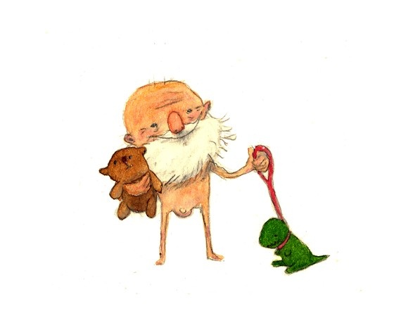 Old man with his dinosaur and bear by peterharren on Etsy, $12.50