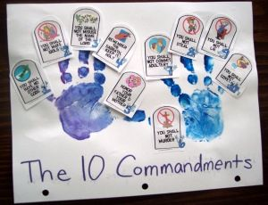 Ten Commandments craft: use the little tablets, but paste on a mountain as a reminder of where God gave them to Moses