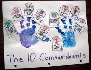 10 commandmentsIdeas, Hands Prints, Bible Stories, Bible Lessons, Sunday Schools, Children, Bible Crafts, Ten Command, 10 Command