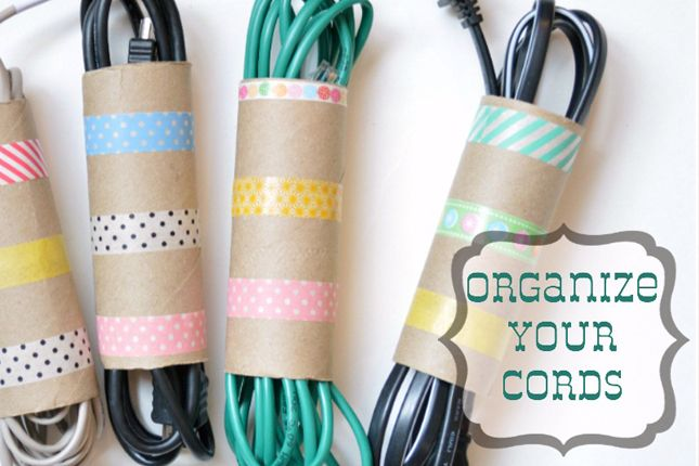 40 Brilliant DIY Organization Hacks via Brit + Co. #3. Washi Cord Organizers: Of course, we couldn't come across another great use for washi tape and not post it! (via Our Thrifty Ideas) Made with empty toilet paper rolls!