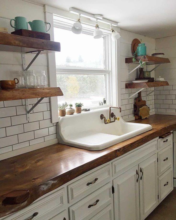 white farmhouse kitchen with floating shelves by theupcyclingjunkies in 2020 farmhouse on farmhouse kitchen kitchen id=89598