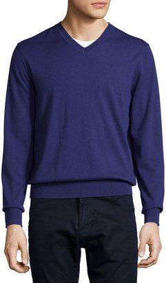 Neiman Marcus Cashmere V-Neck Sweater, Purple - Shop for women's Sweater - PURPLE Sweater