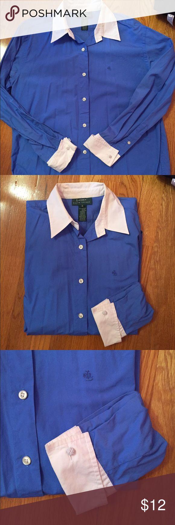 Ralph Lauren Button down shirt Ralph Lauren bottom down blue shirt with white collar and cuffs. Size 8. Light wear. Smoke free home. Ralph Lauren Tops Button Down Shirts