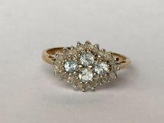 RÉSERVÉE aux JackC Vintage topaze bleue et diamants bague en 9k or jaune. Bague de fiançailles unique. Novembre Birthstone. April Birthst
