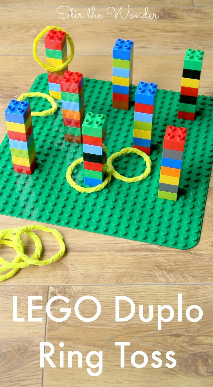 LEGO DUPLO Ring Toss Game is fun for kids of all ages! By building & playing this game kids will practice fine motor & math skills! Get the fun started in no time and adjust the difficulty by just adding or removing some DUPLO bricks.