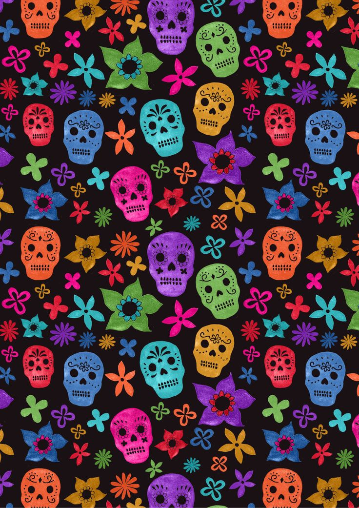 Black background Sugar Skulls