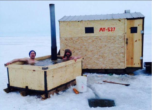 ice fishing shelters sauna