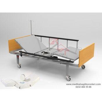 Elektrikli Lazımlıklı Hasta Karyolası (Ahşap Başlık - Ergonomik Korkuluk)