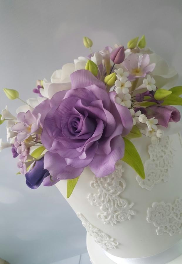 Wedding cake  by samar  soliman - http://cakesdecor.com/cakes/265980-wedding-cake