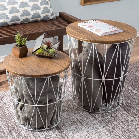 Nesting End Tables With Storage Set Of 2 Convertible Round Metal Basket Veneer Wood Top Accent Side For Home And Office By Lavish White