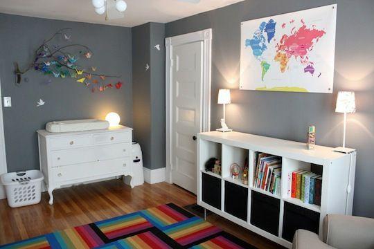 """My daughter Vivien's gray & rainbow nursery! Wall color is Benjamin Moore """"Rock gray""""."""