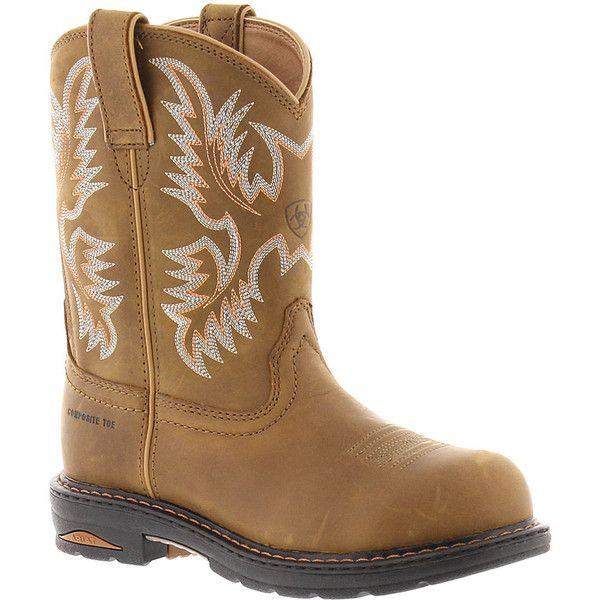 Ariat Tracey Pull-On Women's Brown Boot 7 M (£110) ❤ liked on Polyvore featuring shoes, boots, brown, mid-calf boots, long boots, pull on steel toe boots, safety toe boots, slip on boots and mid heel boots