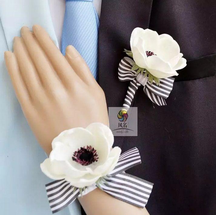 Günstige Großhandel versandkosten der Bräutigam weiß corsage, weiß Anemone boutonnieres die Braut handgelenk blume, Kaufe Qualität Dekorative Blumen & Kränze direkt vom China-Lieferanten: willkommen zu meinem Speicher Beschreibung Sie können auch andere farbe, bitte hinterlasse