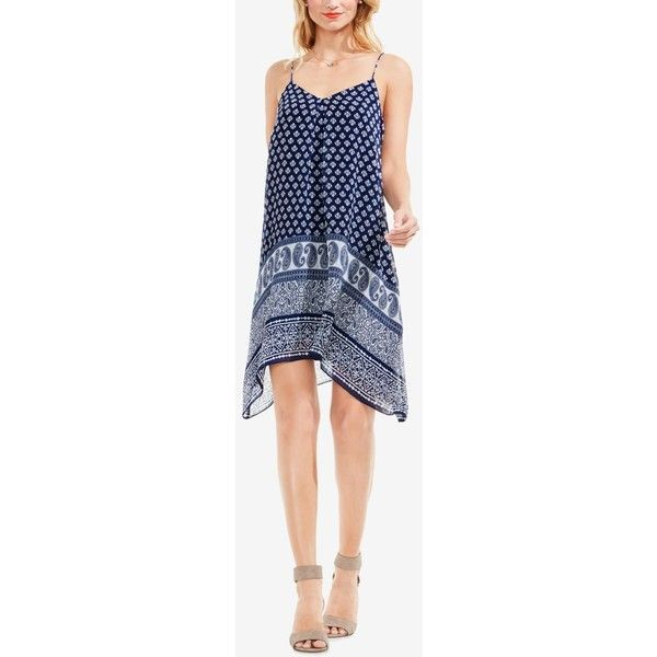 Two by Vince Camuto Handkerhchief-Hem Shift Dress ($99) ❤ liked on Polyvore featuring dresses, indigo tile, vince camuto, paisley print dresses, paisley shift dress, indigo blue dress and blue dress