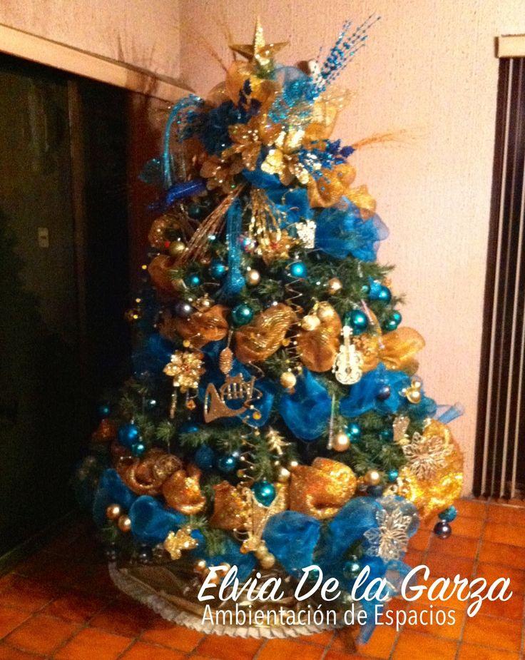 Tema azul turquesa y dorado pinos de navidad for Arbol navidad turquesa