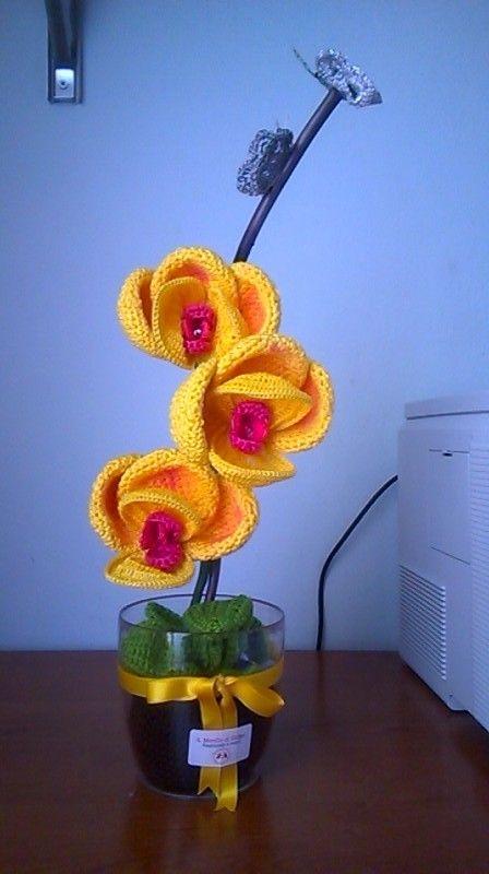 orchidea gialla con farfalle argentate 25°anno di matrimonio