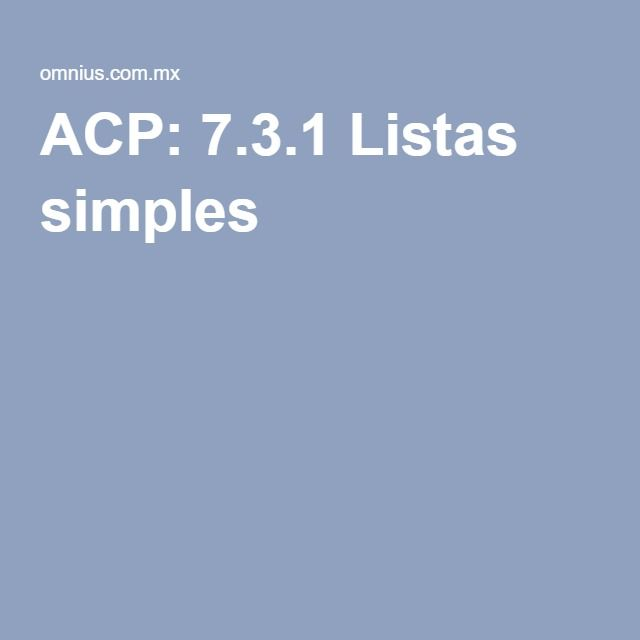 ACP: 7.3.1 Listas simples