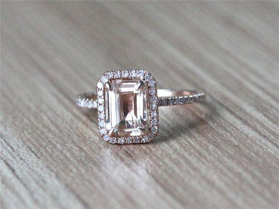 Taglio smeraldo VS 1.15ctw Halo Morganite dell'anello 14K Rosa pavimenta SI / H diamanti Wedding Ring / anello di fidanzamento / Promise Ring / Anniversario Anello