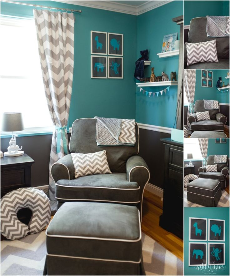 Jacksons Teal And Grey Chevron Safari Nursery