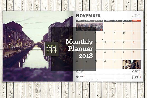 Monthly Planner 2018 (MP12) by mikhailmorosin on @creativemarket
