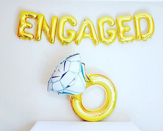 ENGAGED Balloon Engaged Banner Engagement Party by girlygifts07