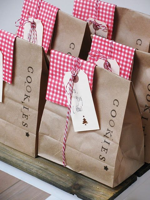 Adorable packaging using kraft paper bags and red checks