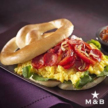 A breakfast taste explosion unlike any other available to you from Mugg & Bean! Anyone for a Chorizo Scramble Pretzel Sandwich?