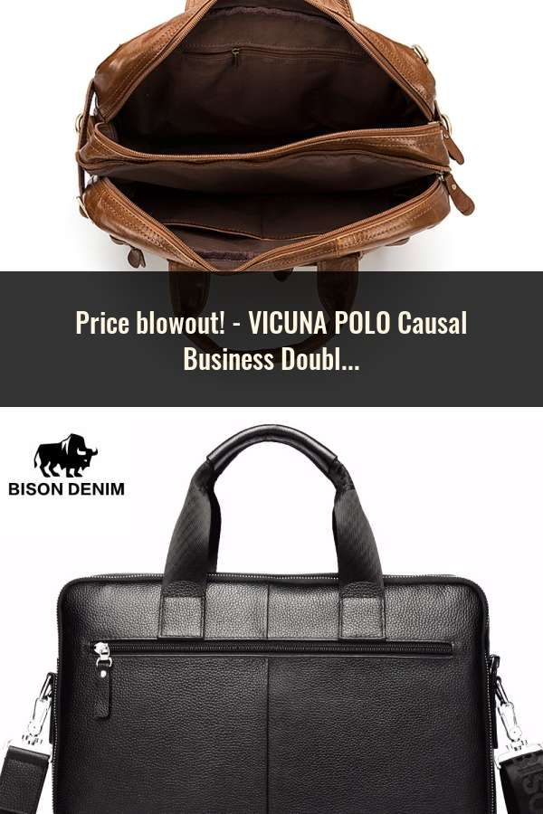 d66216d653 VICUNA POLO Causal Business Double Layer Business Man Briefcase Large Brand  Mens Leather Laptop Bags OL