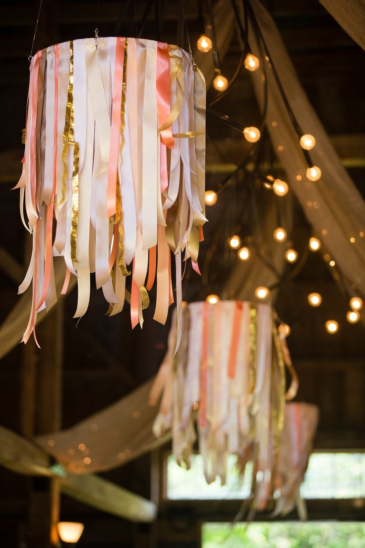 #ribbon, #ceiling  Photography: Emilie Sommer - emilieinc.com  Read More: http://www.stylemepretty.com/2014/07/21/rustic-chic-barn-wedding-in-buxton/